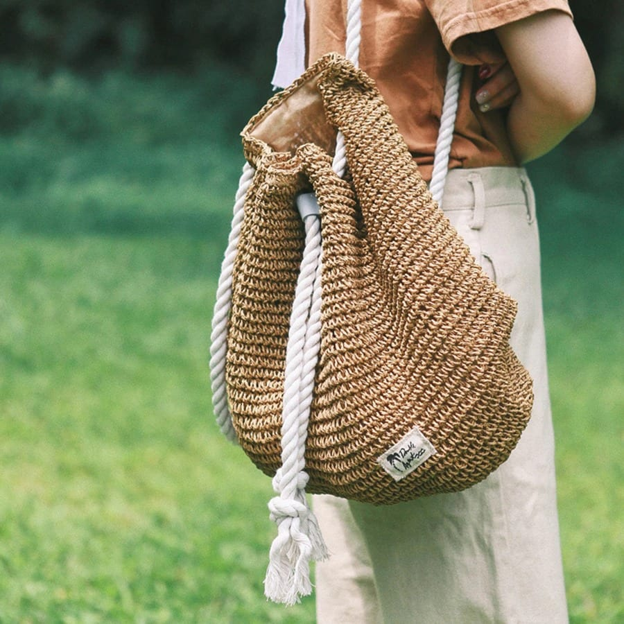 How long knitted straw shoulder bag recomment