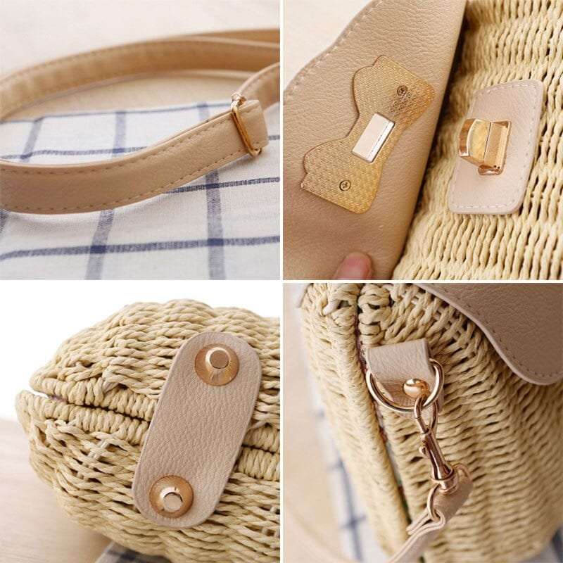 How rattan woven leather totes quality