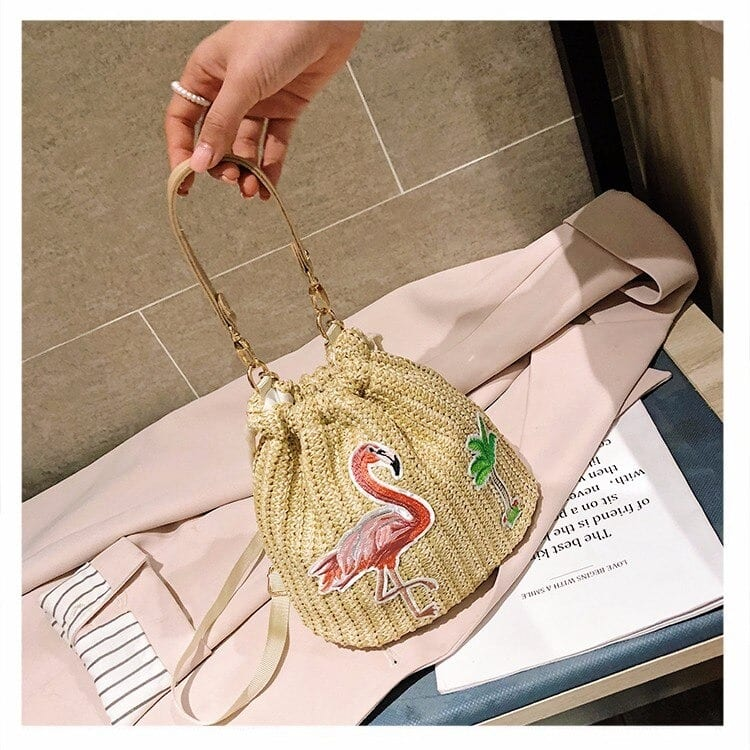 How chain summer straw purse top