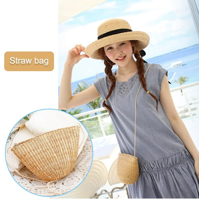 How large straw beach bag with zipper