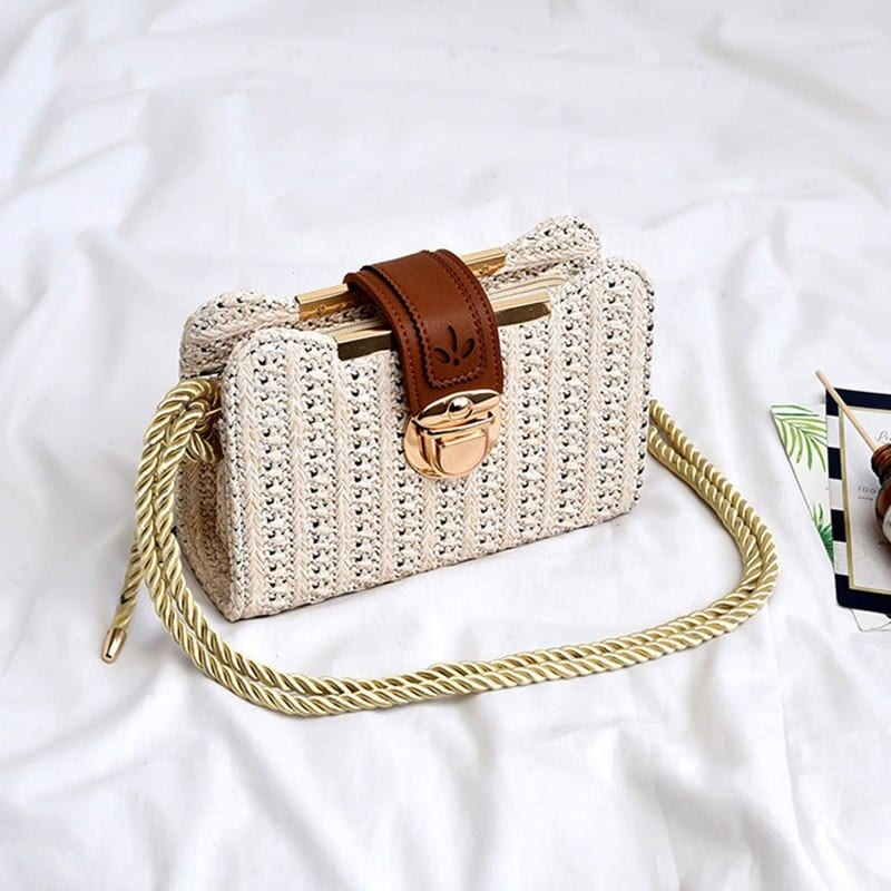 Rattan and large straw bag
