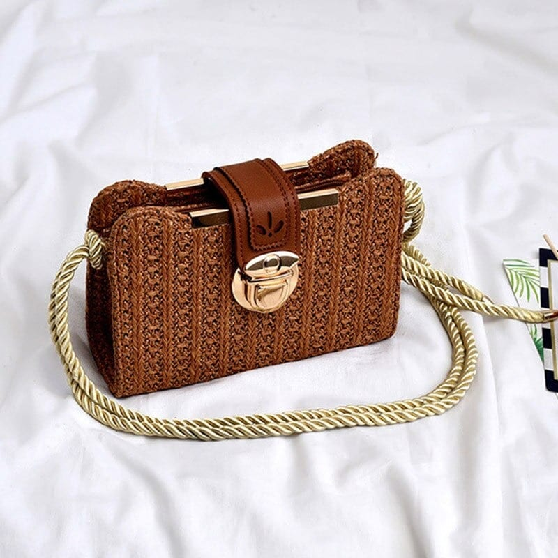 Which wicker clutch leather handles top