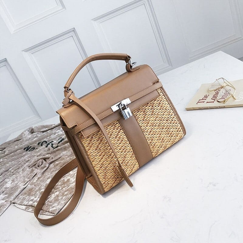 Why mango straw bag with leather handles top