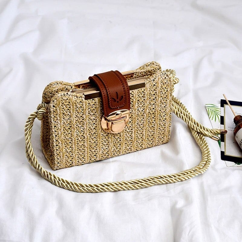 Rattan and designer straw handbag