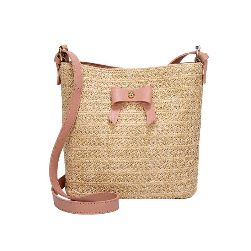 How long woven straw tote handbag