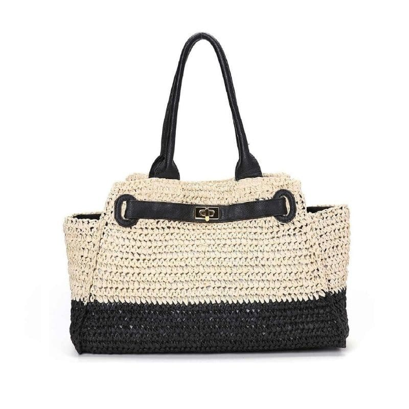 Woven straw and leather handbag top