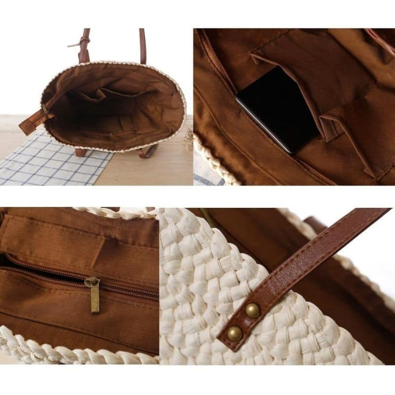 Circle straw bag leather handles recomment