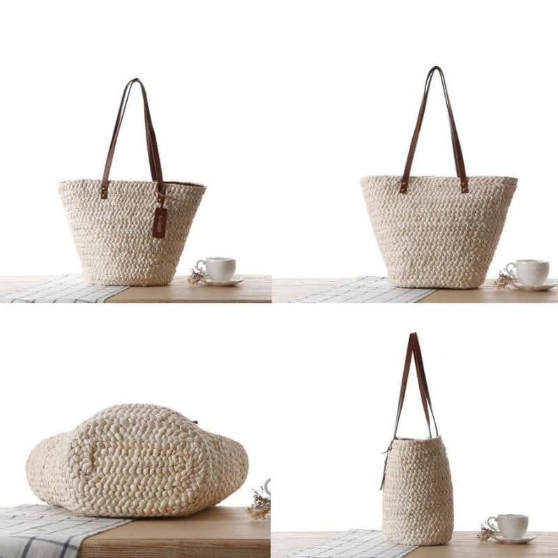 How many extra large straw bag with leather handles premium