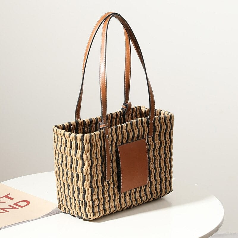 Stripped summer straw purse