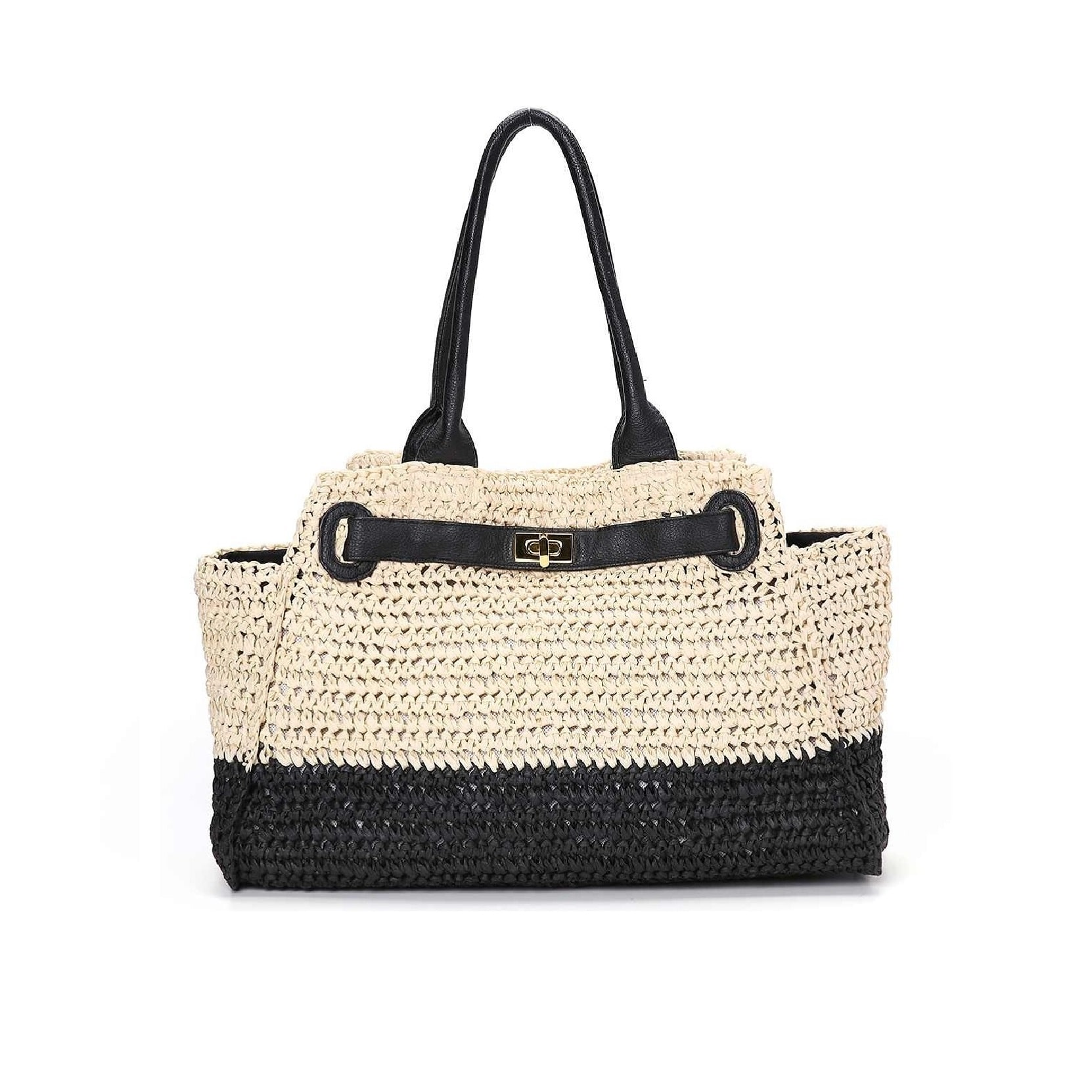 Rattan and straw basket bag