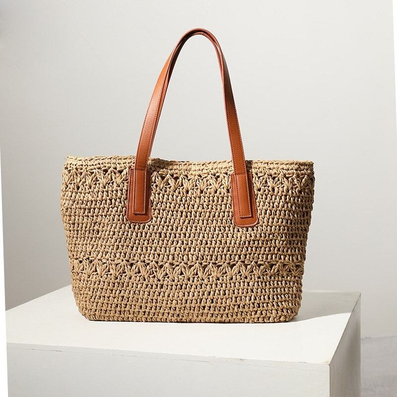 Where half moon straw bag with leather handles premium
