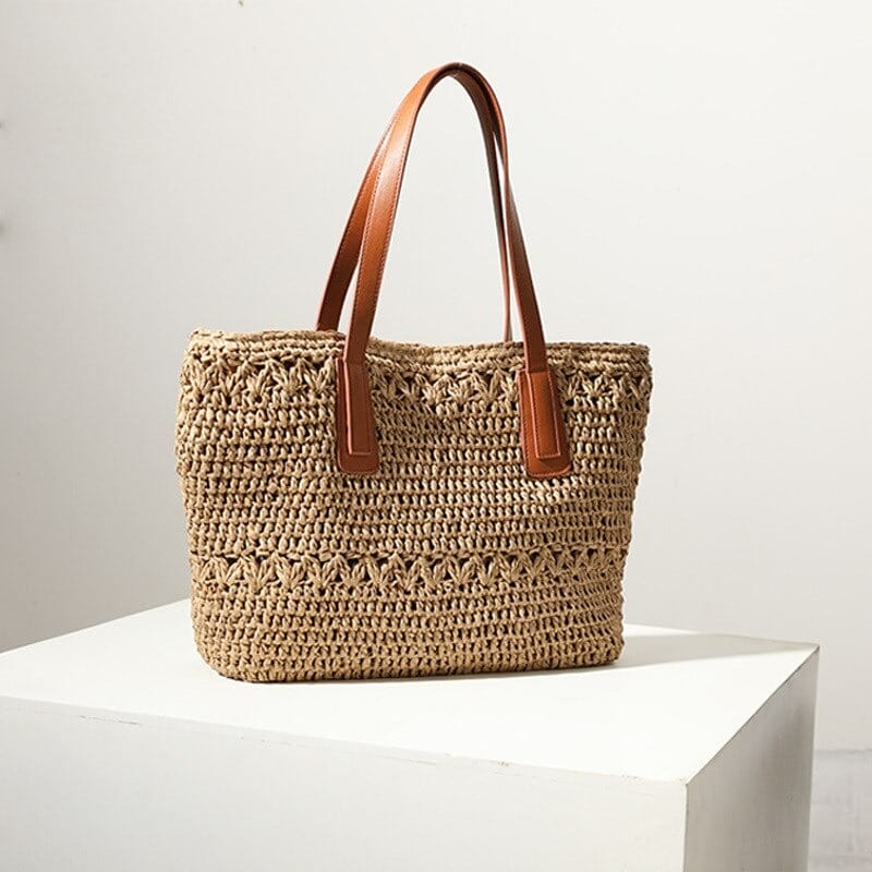 Designer straw beach bag