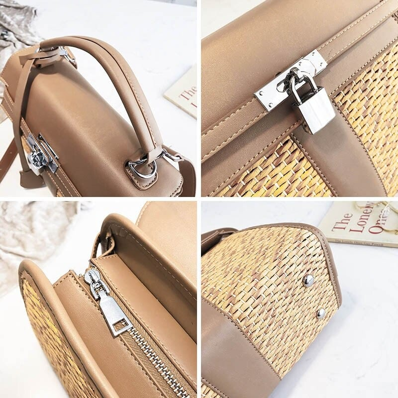 Which handicaft woven leather tote