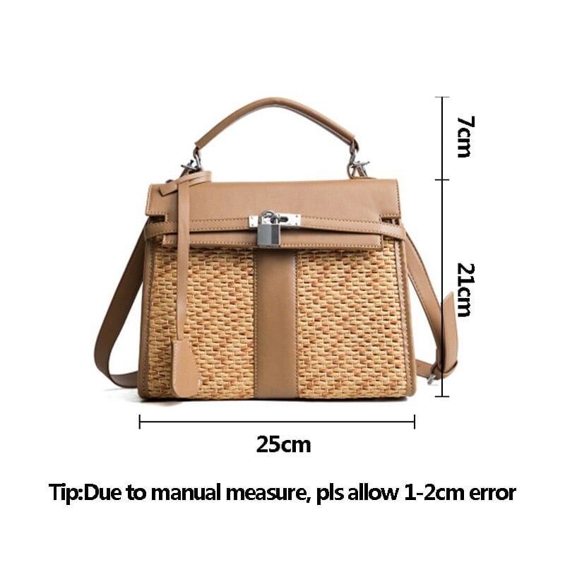 Straw and leather handbags in bali 2021