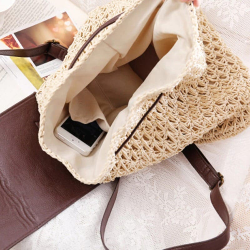 Handle round straw crossbody bag 2021