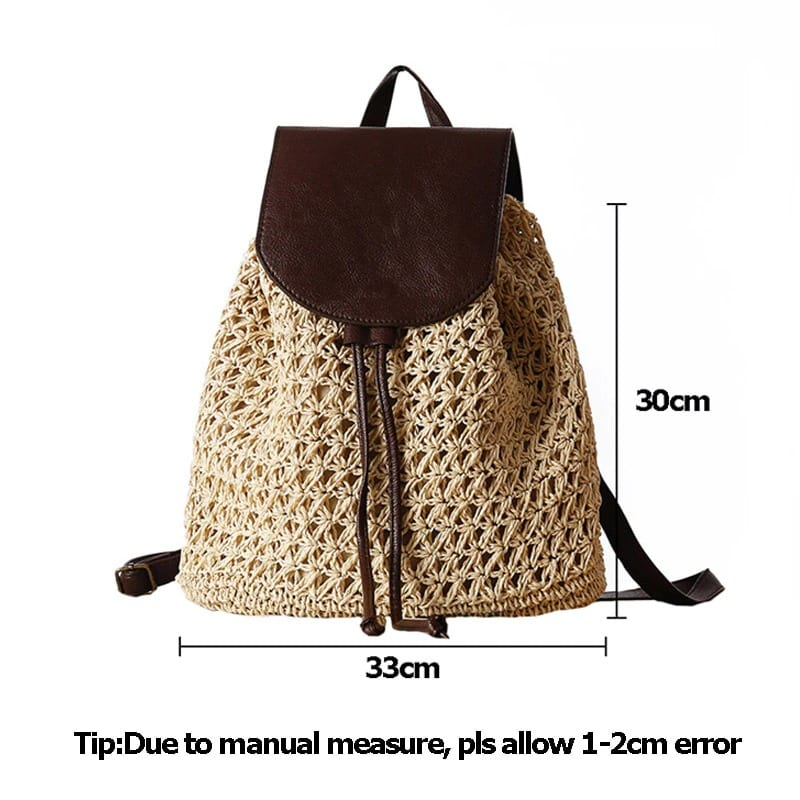 Where round straw purse leather handles