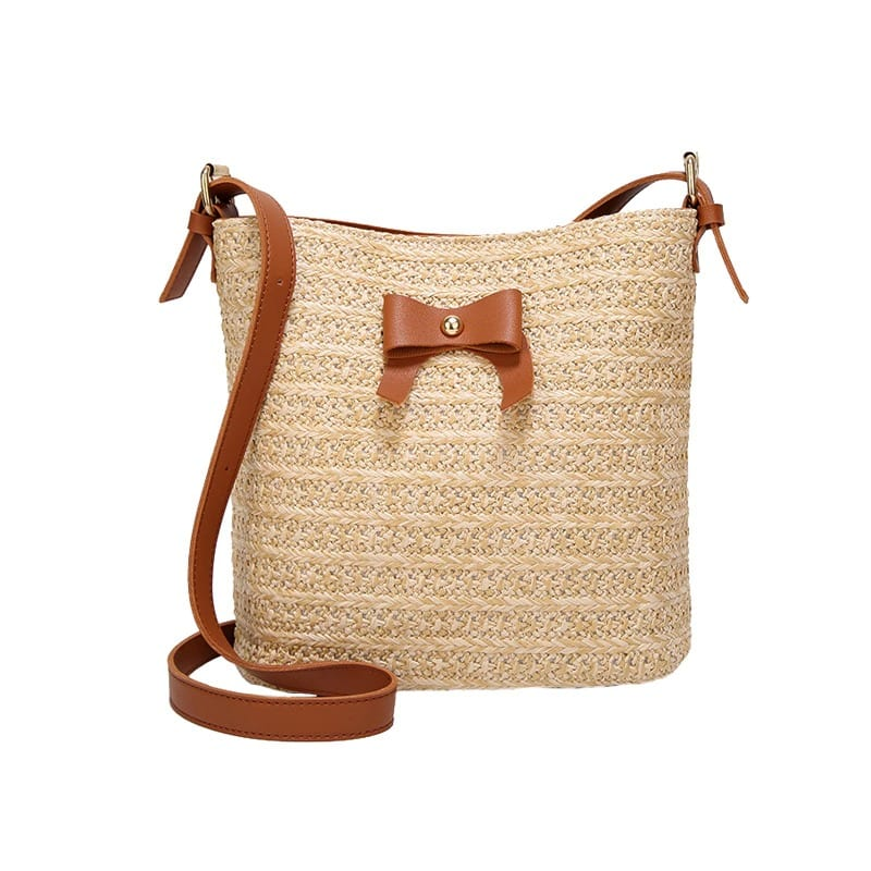 Where khaki straw totes for summer