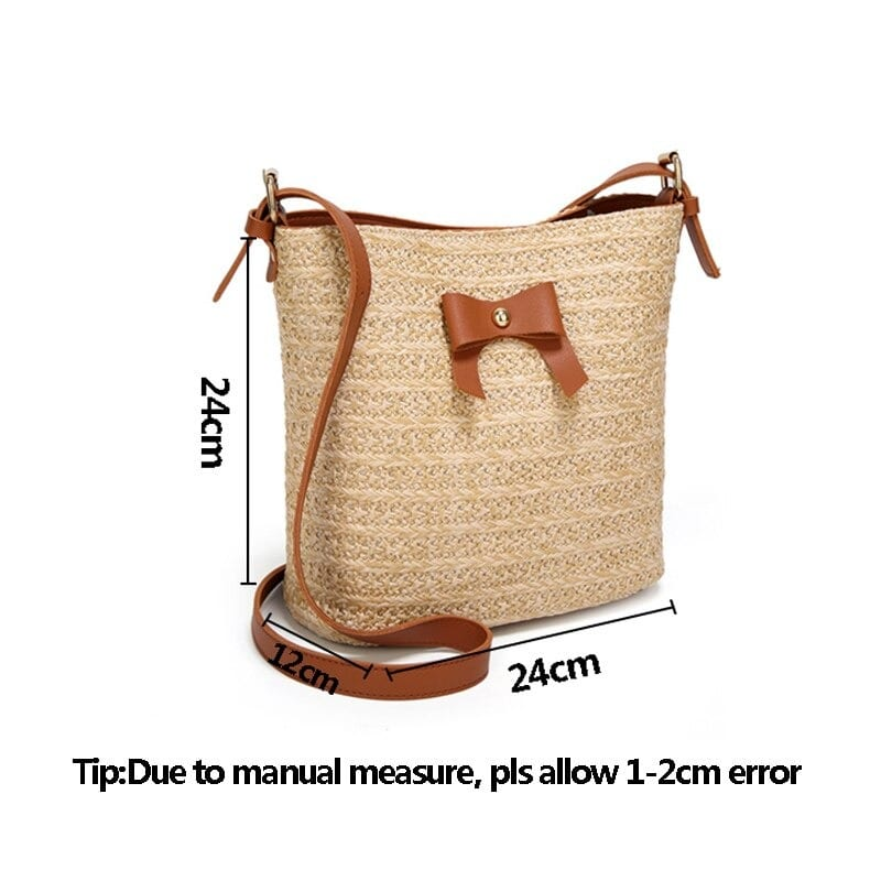 Why round straw crossbody bag rattan
